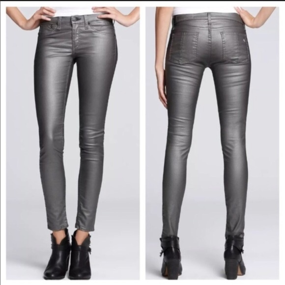 rag & bone Denim - RAG & BONE Pewter Metallic Coated Leggings